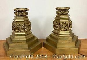 "Pair of Vintage 9"" Solid Brass Candle Holders"