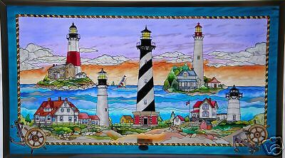 East Coast Lighthouses - EAST COAST LIGHTHOUSES 23x13 SEA SHORE NAUTICAL COASTAL STAINED GLASS ART PANEL
