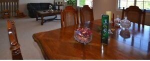 Solid Wood Dining Room Table with 2 leaves & 6 High back Chairs