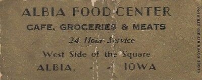 Albia Food Center Albia Iowa Cafe Groceries Meats Old Bobtail Matchcover