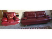 Beautiful red leather three seater sofa with silver feet+ chair £20
