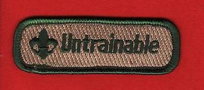 UNTRAINABLE Spoof Comic Trained Patch Boy Cub Scout Leader Boy Scouts of -