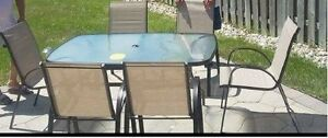 MOVING SALE - 8-Piece Patio Dining Set with Umbrella and stand