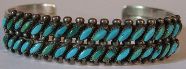 VINTAGE NAVAJO INDIAN SILVER TWO ROW GREEN & BLUE TURQUOISE BRACELET