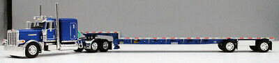 DCP 1/64 SCALE 389 PETERBILT FLAT TOP BLUE, TRANSCRAFT STEPDECK TRAILER #60-0681