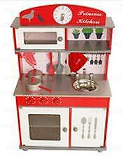 New!!! Red Princess Wooden Kids Pretend Play Toy Kitchen