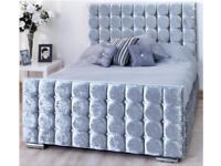 Chesterfield style crushed velvet double bed frame.