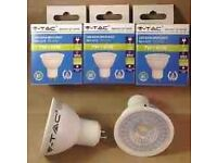 5 x V-TAC 7W (45W) LED GU10 SPOTLIGHT WARM WHITE 3000K SKU-1682.... new