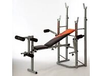 V fit folding weight bench and weights