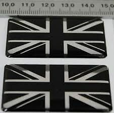 2-UNION-JACK-BLACK-SILVER-GB-CAR-BADGES-VW-T4-T5-Crafer-Resin-Weatherproof