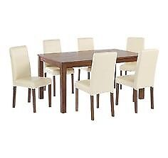 Walnut effect 120cm extending table and 4 cream chairs