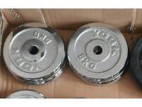 4 x 5kg York chrome weight plates standard