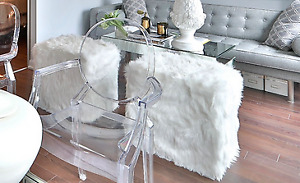 2 White Faux Fur Stools