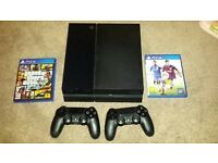 ps4 black slim 500gb with two pads and fifa 18