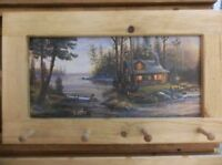 Log Cabin On The Lake Art Framed Peg-Board