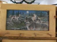 Wolves Howling At The Moon Art Framed Peg-Board