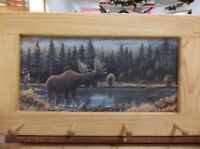 Bull & Cow Moose Art Framed Peg-Board