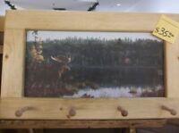 Moose Across From Cottage Art Framed Peg-Board