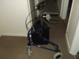 A 3 wheel folding disability walking aid to support up to 20 stone