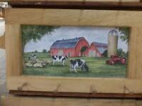 Farm With Red Barn Art Framed Peg-Board