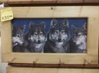 Wolf Heads Art Framed Peg-Board