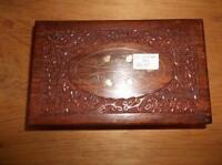 Carved Wooden Box With Inlayed Brass