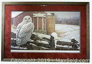 Jerry Gadamus  Vanishing Red - Gathering White Snowy Owl limited edition print, framed, s/n