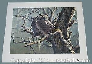 """Pierre Leduc """"Great Horned Owls"""" open edition print"""