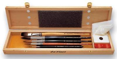 da Vinci Aquarellpinsel Set - 5 Pinsel im Holzkasten und Zubehör Aquarell Zubehör