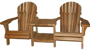 Solid Cedar Wood Double/Corner Adriondack/Muskoka Chairs