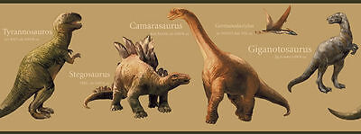Educational Dinosaur / Dino on Beige Wallpaper Border CK7640B