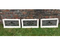 3 COMPLETE STAINED GLASS WINDOW FRAMES, 1930S, LEAD LINED, ART DECO, VINTAGE SALVAGE RECLAMATION
