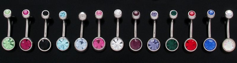 10 Double Gem CZ Belly Button Rings Navel Body Jewelry
