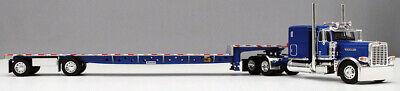 DCP 1/64 SCALE 389 PETERBILT FLAT TOP BLUE, TRANSCRAFT STEPDECK TRAILER #60-0681 3