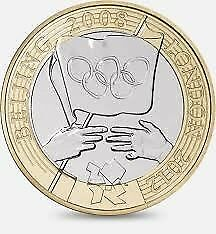 £2 pound coin . Beijing 2008 , London 2012 Olympic Handover