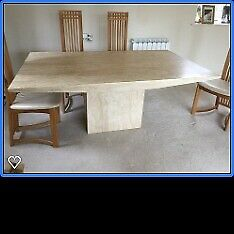 Marble dining table with 6 oak & cream leather chairs for sale - second hand, excellent condition