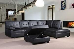 HOLIDAY SPECIALS ON NOW 3PC BONDED  LEATHER SECTIONAL WITH JUMBO OTTOMAN ONLY $699
