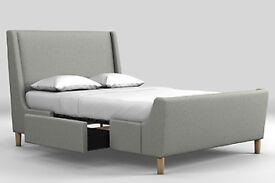 Next Porto suvel mink storage king size bed and matching memory foam mattress