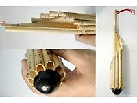 Thai Wode 12 tube Bamboo Woodwind Carved Pan Pipe