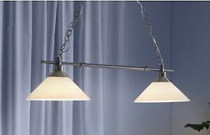 Lustre/Suspension double, couleur nickel, verre - impeccable