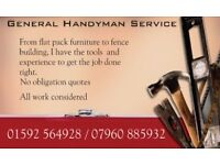 Handyman service, Fife. All jobs considered. 25 years experience. Plumbing, electrics, flat-pack etc