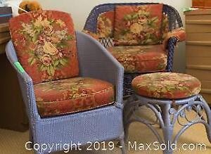 Wicker Chairs And Rattan Footstool B
