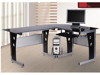 Metal and black glass compute desk