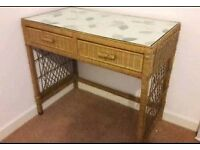 Pretty 2 drawer glass top desk/dressing table