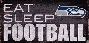 """Seattle Seahawks """"Eat Sleep Football"""" Wood Sign (New)"""