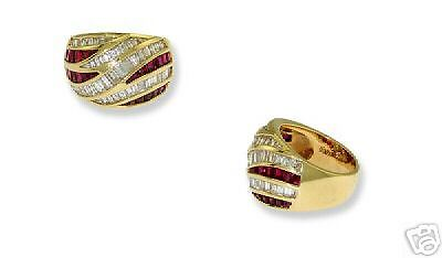 18k Yg Ladies Kurt Wayne Diamond Ruby Ring