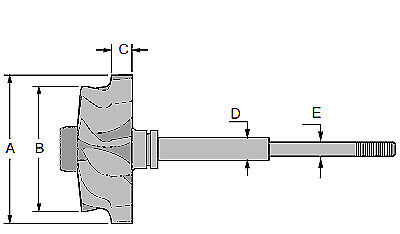 TURBINE WHEEL TURBO SHAFT AND WHEEL MELETT 1153-050-435