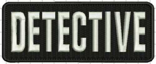 """""""Detective"""" embroidery patch 2x5 inches hook on white letters"""