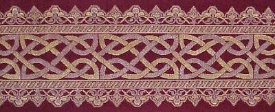 (Silk Brocade Metallic Jacquard Border Trim Celtic Knot. Burgundy Deep Red 1 Yard)