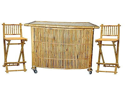Bamboo Tiki Bar Set w/ 2 Stools on rollers INDOOR or OUTDOOR !! FREE SHIP !!